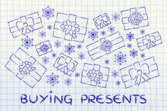 Set of wrapped up gifts and snowflakes with text Buying presents Stock Photos