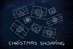 Set of wrapped up presents with text Christmas shopping Stock Photo