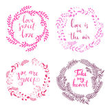 Set of wreath love1. Set of doodle floral frames .Handrawn romantic greeting card, invitation, Valentines Day card, wedding invitation.Heart and wreath stock illustration