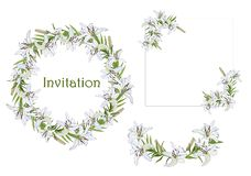Set of wreath, semicircles and corner elements for greetings, invitations with white lily flowers stock illustration