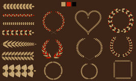 Set of Wreaths, branches, leaf with flat tricolor. Vector illustration. Royalty Free Stock Photos
