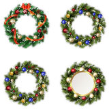 Set of wreaths for Christmas. Set of four Christmas wreaths on white background Stock Image