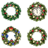 Set of wreaths for Christmas. Set of four Christmas wreaths on white background Royalty Free Stock Image
