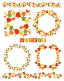 Set Of Wreaths With Colorful Autumn Leaves. Set of isolated design elements. Wreaths and dividers with leaves in Fall leafage colors. Collection of frames or Stock Images