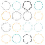 Set wreaths. Decorative wreaths plant motifs. It contains sixteen different wreaths. White background Royalty Free Stock Photo