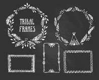 Set of wreaths and frames with place for your text. Stock Images