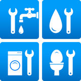 Set with wrench, water drop, washing machine Royalty Free Stock Photo