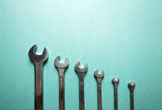 Set of wrenches. From the big size to the small size Stock Photos