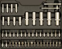 Set Of Wrenches And Bits In black Toolbox Stock Photo