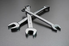 Set of wrenches. Wrenches on a black background Stock Images
