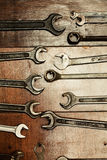 Set of wrenches hanging on a wall, Stock Photo