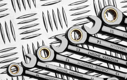 Set of wrenches on metal Royalty Free Stock Photo