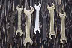 Set of wrenches in several different sizes. Stock Photos