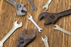 Set of wrenches in several different sizes. Stock Image