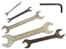 Set of wrenches. Set of used wrenches isolated on white, ready for cut and paste Royalty Free Stock Image