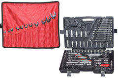 Set of the wrenchs  and Set of tools in the box Stock Photo