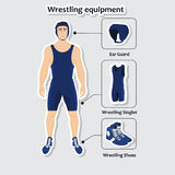 Set of wrestling equipment with man Royalty Free Stock Photo