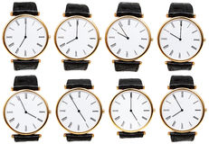 Set of wristwatch dials with different time Royalty Free Stock Images