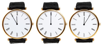 Set of wristwatches with midnight time stock photography