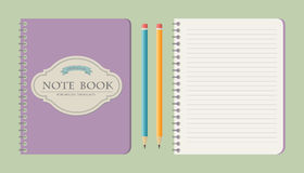 Set of write papers, pencils and and note book. S in vintage style stock illustration