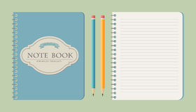 Set of write papers, pencils and and note books. In vintage style vector illustration