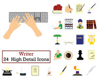 Set of 24 Writer Icons Royalty Free Stock Photos