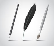 Set of writing tools. Stock Photo