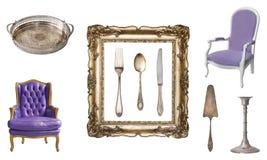Set 9 wspaniałych starych roczników rzeczy Starzy naczynia, urządzenia, czajniki, krzesła, książki, candlesticks, obrazek ramy od fotografia stock