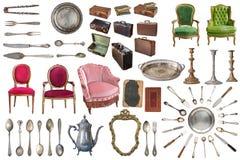 Set wspania?e stare rocznik rzeczy Starzy naczynia, urz?dzenia, czajniki, krzes?a, ksi??ki, kawowy ostrzarz, candlesticks, obraze obraz stock