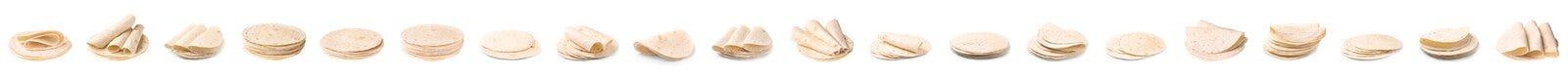 Set wy?mienicie tortillas Niekwaszony chleb obraz stock