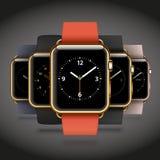Set 5 wydań nowożytnych błyszczących złotych mądrze zegarków ilustracja wektor