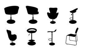 Set wygodni krzesła nowożytnego i antykwarskiego bar i ilustracji