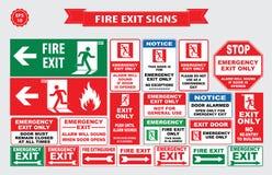 Set wyjście ewakuacyjne znak ilustracji
