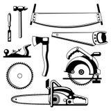 Set wyposażenie i narzędzia dla leśnictwa i tarcica przemysłu Zdjęcia Royalty Free