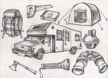 set wysoce szczegółowa ręka rysujący campingu materiał Rocznik podpisuje kolekcję Obraz Stock