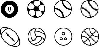 Set wysokiej jakości czarny i biały piłek ikony royalty ilustracja
