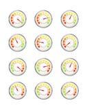 Set występu pomiar z różną wartością, glansowane metalu szybkościomierza ikony na bielu ilustracja wektor