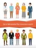 Set 10 wyszczególniał płaskich charaktery na bielu Zdjęcia Royalty Free