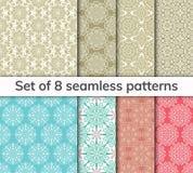 Set 8 wzorów Inkasowy język arabski, hindus, japończyk, islamscy motywy kwiaty zielenieją ilustracyjnego liść mandala wzoru bezsz ilustracja wektor