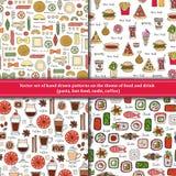 Set wzory na temacie jedzenie, napój Zdjęcia Stock