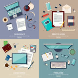 Set of 2x2 banners of home workspace. Flat design vector illustration Stock Photo