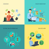 Set Of 2x2 Design Salesman Stock Images