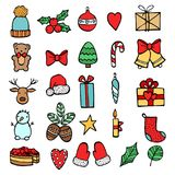 Set of Xmas hand draw stickers icons. Cartoon and flat style. Vector illustration. White backgrouhd. Stock Images