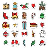Set of Xmas hand draw stickers icons. Cartoon and flat style. Vector illustration. White background. Stock Photo