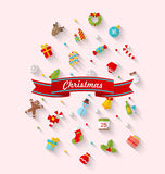 Set xmas icon flat style Royalty Free Stock Photography