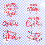 Set with Xmas inscription on a transparent background Stock Images