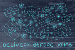 Set of Xmas presents and snowflakes, with text Delivery before X Stock Image