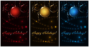 Set of xmas red, gold, blue balls, illustration for Christmas card Royalty Free Stock Photos