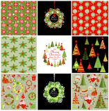 Set of xmas red and green backgrounds with snowflakes Royalty Free Stock Image
