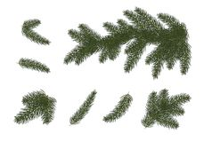 Christmas trees, isolated. Branches of Christma. Set: Xmas tree branches.  Christmas and Happy New Year décor . Isolated without a shadow. Fir tree branches Royalty Free Stock Photos